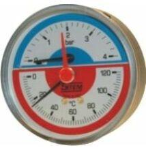 SIT termomanométer elzáróval, hátsó csatlakozással 80mm 4bar