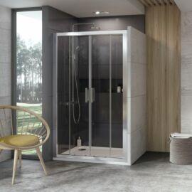 Ravak 10DP4-180 Négyrészes zuhanyajtó szatén kerettel, transparent edzett bizton