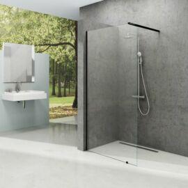 Ravak Walk-In Wall 110 fix üvegfal fekete kerettel, transparent edzett biztonság