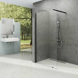 Ravak Walk-In Wall 120 fix üvegfal fekete kerettel, transparent edzett biztonság