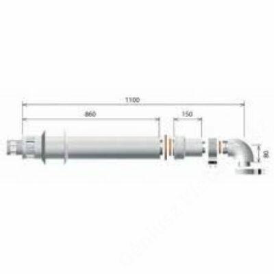 Ariston 80/125 Pps/Alu Víszintes alapszett, L= 1 m