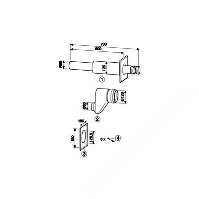 Bosch AZ 405 Vízszintes fali átvezetés, O 80/80 mm -> O 125 mm