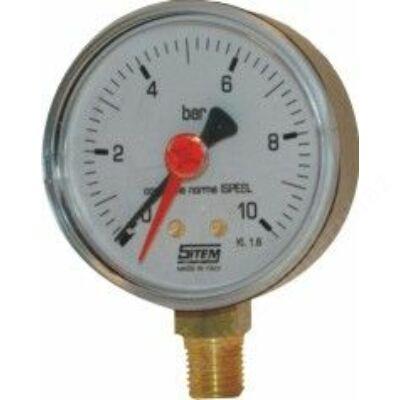 SIT manométer alsó csatlakozással 100mm 16bar