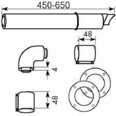 Vaillant na 60/100 alu/alu oldalfali kivezető készlet, teleszkópos