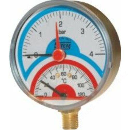 SIT termomanométer elzáróval, alsó csatlakozással 80mm 4bar