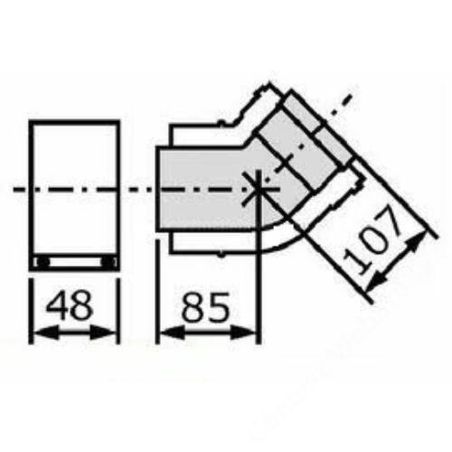 Vaillant na 60/100 alu/alu 45° könyök idom, 2 db/csomag
