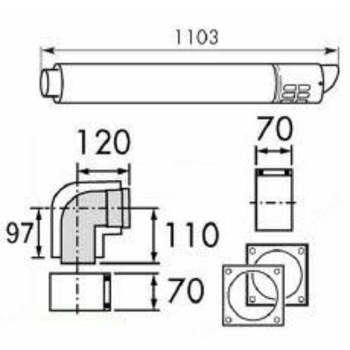 Vaillant na 80/125 alu/alu oldalfali kivezető cső, L= 1000 mm